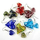 Lady Love Heart Bead Lampwork Glass Murano Pendant Necklace Earring Jewelry Set