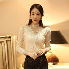 OL Women Lace Floral Stand Neck Long Sleeve Slim Blouse Tops T Shirt Size S-XXL