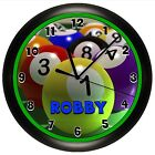 POOL WALL CLOCK PERSONALIZED SPORTS BALL HALL EIGHT GIFT GAME ROOM MAN CAVE $19.99 USD on eBay