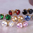 Women's 18k Gold Plated Fashion Jewelry Round CZ Design Stud Earring 6 Colors J