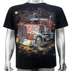 American Big Rig Semi-Truck Lorry Freightliner Road Train Men T-shirt XL & XXL