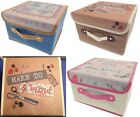 Small Sewing Box Craft Organiser Divided Pink Blue Red Scottie Dog Storage