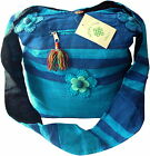 FAIR TRADE COTTON HIPPY BOHO SHOULDER BEACH TRAVEL BAG WITH FELT FLOWERS