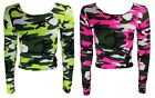 NEW LADIES NEON CAMOUFLAGE PRINT LONG SLEEVE CROP T SHIRT TOP SIZE 8 -14 SM ML