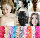 2PCS New hot Bride's Korea Pearl Beaded Headdress Connection Headwear On Wedding
