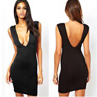 Women Sexy Deep V-neck Backless Cocktail Clubbing Party Mini Dress Black