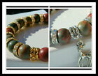 10mm PICASSO JASPER BEADED STRETCH BRACELET ~ SILVER ~ GOLD ~ SPACERS ~ CHARMS