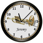 TRUMPET WALL CLOCK BRASS INSTRUMENT HORN MUSIC MUSICIAN ORCHESTRA BAND