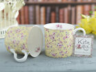 Set of 2 KATIE ALICE Ditsy Yellow Floral BONE CHINA Shabby Chic PALACE MUGS