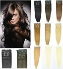 """Hot 10pcs 100% Remy Human Hair Extension Clip On In  20"""" 22""""100g/120g/180g"""