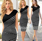 Women Sexy V Neck Multilayer Bodycon Party Mini Stripe Dress Casual Pencil Skirt