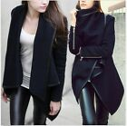 2014 Pop Ladies Winter Warm Zipper PU Edge Leather Trench Coat Jacket Outwear-LJ