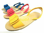 Girls Spot On Canvas Flat Sandals with Bow Trim & Slingback Strap Style H0125
