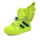 Child Baby Kids Girls/Boys CANVAS Patent Angel Wings Mesh Venting High Shoes
