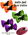 Satin Bat Bow Pairs by Kitty Deluxe EMO Punk Goth Burlesque Rockabilly Halloween