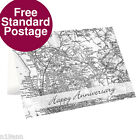 NEW PERSONALISED MAP CARD CHOOSE FROM 5 DESIGNS FREE P&P WEDDING ANNIVERSARY