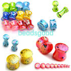 Pair 4-20mm Colorful Dot Acrylic Solid Ear Plug Flesh Tunnel Expander Punk Gauge
