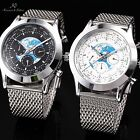 6 Color KS Army Military Day Date Steel Mesh Men's Leather Mechanical Watch Gift