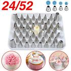 Set 24 52 Nozzles + 100pcs Icing Piping Bag Cake Decorating Pastry Tips Tool Box