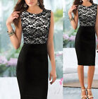 Women Tunic Bodycon Cocktail Floral Fashion Lace OL Skirts Pencil Shift Dress