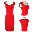 New Rockabilly Cocktail Swing Work Evening Dress 40s 50s Retro Pin Up Red Cotton
