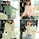 Women Cute Batwing Knitted Pullover Casual Loose Round Neck Long Sleeve Sweater