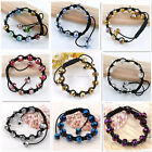 Faceted Rondelle Crystal Glass Ball Bead Cord Knitted Bracelet Bangle Mix Color