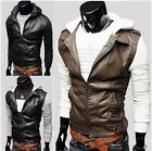 Stylish Men's Slim Fit Washed PU Leather Jacket Hooded Coat Casual Hoodies NWT