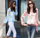 HOT Ladies Women Chiffon T Shirt Floral Print Long Sleeve Blouse Casual Tops SML