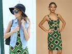 TOPSHOP Green Aztec/Ethnic Shift Cup Dress - Size UK16