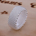 925Sterling Silver Jewelry Wide Mesh Circle Men Women Band Ring #6-#10 RP040
