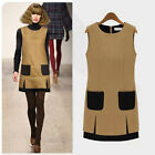Women Slim Wool Blend Sleeveless Vest Dress Sweater One Piece Dress M L XL XXL
