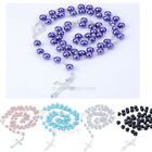 New Arrival Rosary Beads Imitate Pearls Cross Pendant Long Beaded Necklace Chain