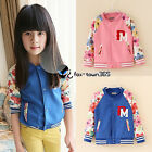 Spring Autumn Baby Child Kids Girls Baseball PM Flower Coat Jackets Top 2-7Y