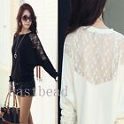 Batwing Lace Sexy Women Girls' Long Sleeve Ladie Loose T Shirt Blouse Top 3Size