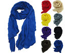 Women 180 x 90 cm Plain Cotton Blend Crinkle Voile Scarf Shawl Neck Wrap