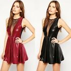 Sexy Women Sheer Mesh Sleeveless Shiny Cocktail Clubwear Party Skater Dress