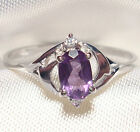 Genuine Faceted Oval Amethyst .925 Sterling Silver Ring -- AM879