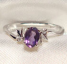 Genuine Faceted Oval Amethyst .925 Sterling Silver Ring -- AMT111