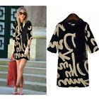 Autumn Letter Print Half Sleeve Tunic Shift Top Mini Dress With Scarf Black