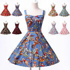 8 FLORAL CLASSIC VINTAGE STYLE 1950's FULL CIRCLE FLARED ROCKABILLY SWING DRESS