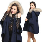 Women Fashion Cloak Hooded Poncho Cape Coat Warm Faux Fur Shawl Wool Jacket E