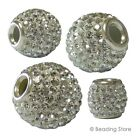 Various 925 Sterling Silver Clear Crystal Round Large Hole Beads Charms Pendants