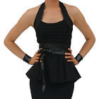 Black Halter Neck Ribbed Peplum Top 6-12 Sexy Classy More in Shop FREE RETURNS