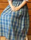 Ladies S, M, L, XL & Plus long full skirt cotton plaid blue green modest