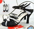 MIDDLE OR WIDE WHITE BLACK WOMEN'S LATIN BALLROOM DANCE SHOES