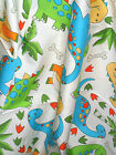 0.5M Cream/Green/Blue DINOSAUR Print COTTON Fabric for Crafts Quilting Sewing