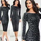 HOMECOMING COCKTAIL SEXY LEOPARD BODYCON SLIM CLUBWEAR MIDI Evening Party Dress