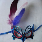 Hot Girls Masquerade Costume Ball Party Mask Butterfly Shape 5 Colors&Feather UK