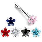 Lot 6Pcs Nose Studs 316L Stainless Steel Star CZ Gem Zirconia Ring Bone Piercing